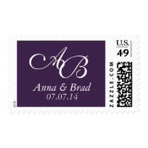 Double Monogram Wedding Save the Date Purple Postage