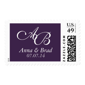 Double Monogram Wedding Save the Date Purple Stamps