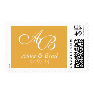 Double Monogram Wedding Save the Date Yellow Postage