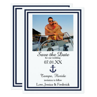 Double Navy Trim Nautical - Save the Date Card