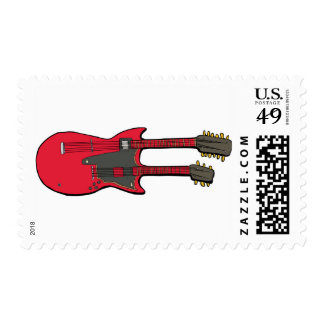 Double Neck Electric Guitar Postage Stamps