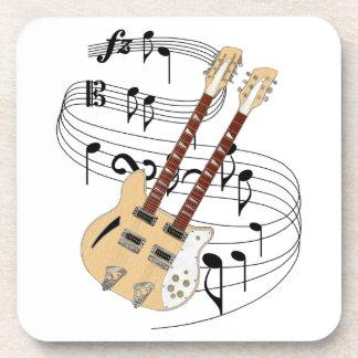 Double Neck Guitar Beverage Coaster