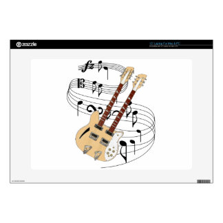 """Double Neck Guitar Decals For 15"""" Laptops"""