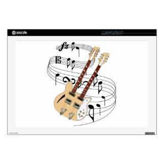 """Double Neck Guitar Decals For 17"""" Laptops"""