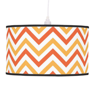 Double Orange Chevron Hanging Lamp