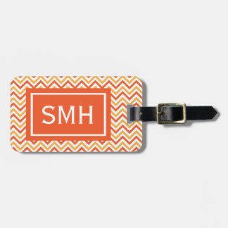 Double Orange Chevron Monogram Bag Tag
