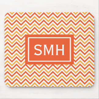 Double Orange Chevron Monogram Mouse Pad