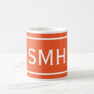 Double Orange Chevron Stripe Classic White Coffee Mug
