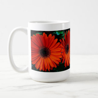 double orange color daisy flowers coffee mug