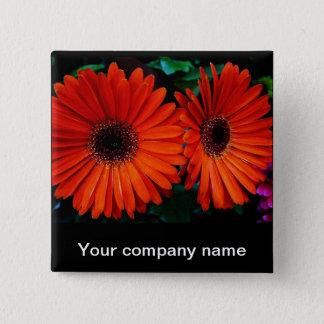 double orange color daisy flowers pinback button