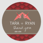 Double Paper Cranes Thank You Wedding Sticker Stickers