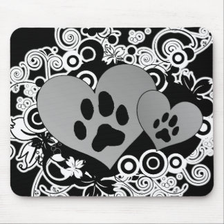 Double Paw Pet Love Hearts - Grey B&W Mouse Pad