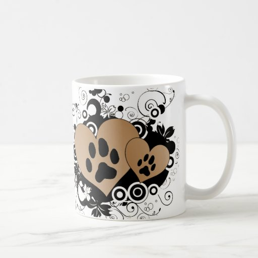 Double Paw Pet Love Hearts - Orange Coffee Mug