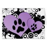 Double Paw Valentine Hearts - Purple Card