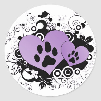 Double Paw Valentine Hearts - Purple Classic Round Sticker