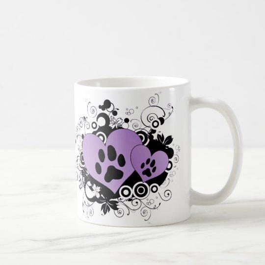 Double Paw Valentine Hearts - Purple Coffee Mug
