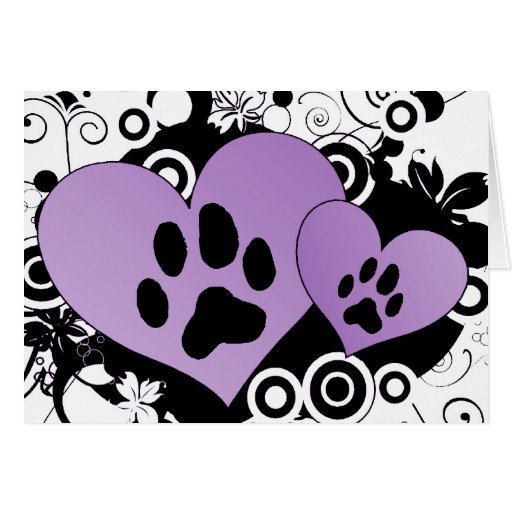 Double Paw Valentine Hearts - Purple Greeting Card