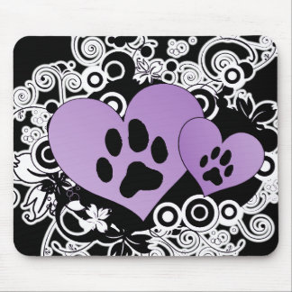 Double Paw Valentine Hearts - Purple Mouse Pad