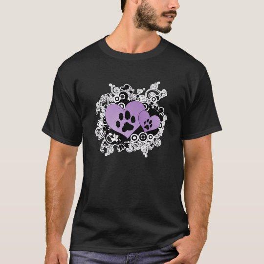 Double Paw Valentine Hearts - Purple T-Shirt