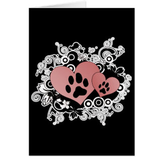 Double Paw Valentine Hearts - Red Card