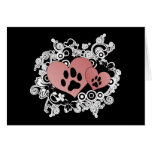 Double Paw Valentine Hearts - Red Greeting Card