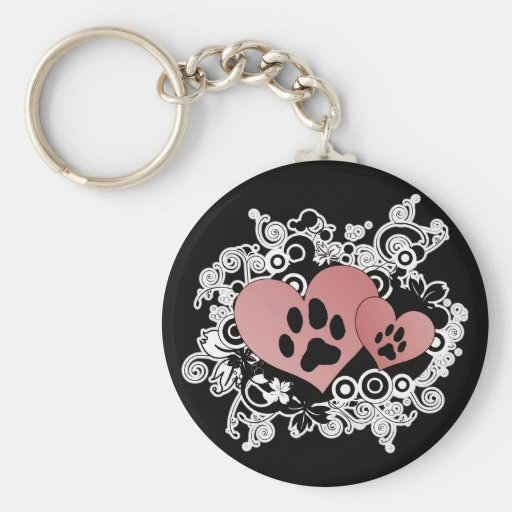 Double Paw Valentine Hearts - Red Key Chain