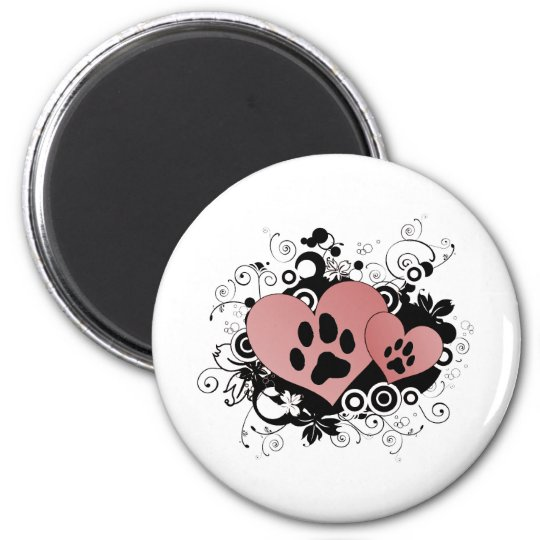 Double Paw Valentine Hearts - Red Magnet