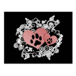 Double Paw Valentine Hearts - Red Post Cards
