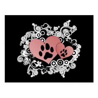Double Paw Valentine Hearts - Red Postcard