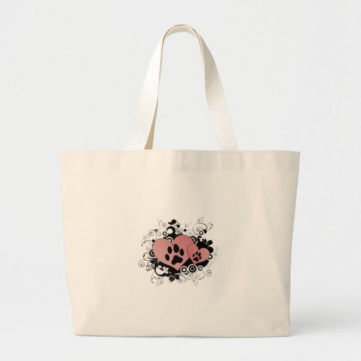 Double Paw Valentine Hearts - Red Tote Bags