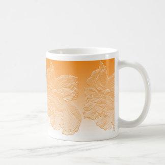 double peach hibiscus flower orange basrelief classic white coffee mug
