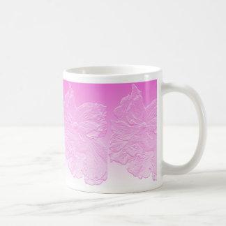 double peach hibiscus flower pink basrelief classic white coffee mug
