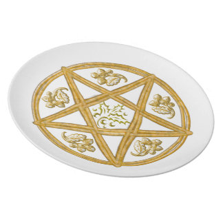 Double Pentagram, with Oak & Holly - Plate