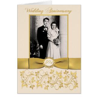 Double Photo 50th Anniversary Invitation Card Card