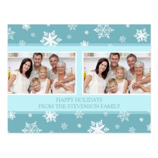 Double Photo Happy Holidays Postcards Snow