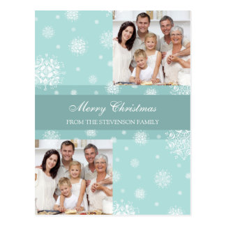 Double Photo Merry Christmas Postcards Snow