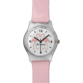 Double Pink Flamingo Personalized Watch