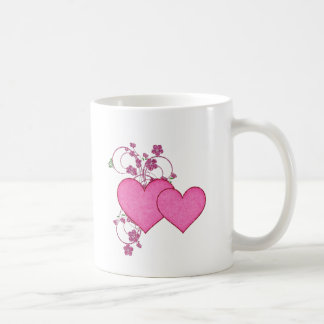 Double Pink Heart & Glitter Design Valentine's Day Coffee Mug