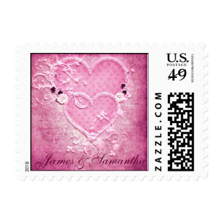 Double Pink Hearts Wedding Postage Stamp