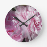 Double Pink Peonies Round Clock