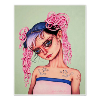 Double Pink Ponytails Poster