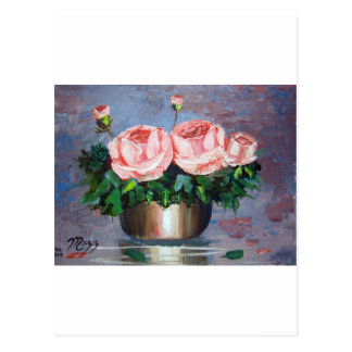 Double Pink Rose Postcard