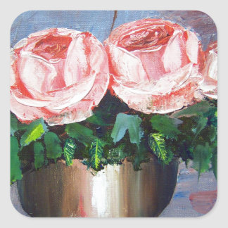 Double Pink Rose Square Sticker