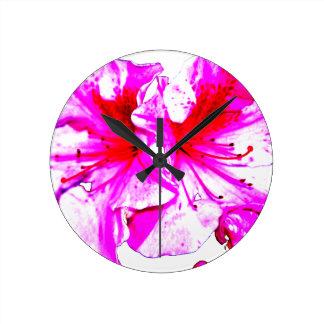 Double Pink Splash Azalea Blooms Round Wallclocks