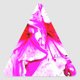 Double Pink Splash Azalea Blooms Triangle Sticker