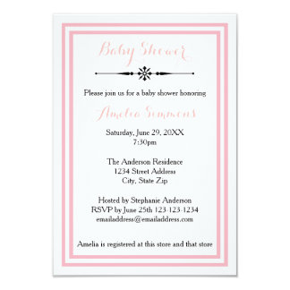 Double Pink Trim  - 3x5 Baby Shower Invitation