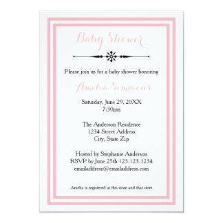 Double Pink Trim  - 5x7 Baby Shower Invitation