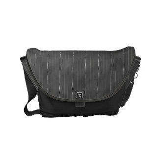 Double Pinstriped (Dk. Gray) Small Messenger Bag