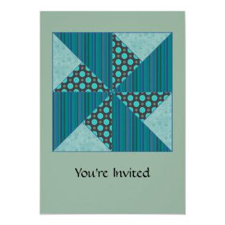 Double Pinwheel Blue& Green Stripes & Circles Card