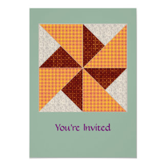 Double Pinwheel Gold Rust and Beige Quilt Card